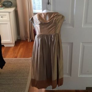 Gold strapless Laundry Dress